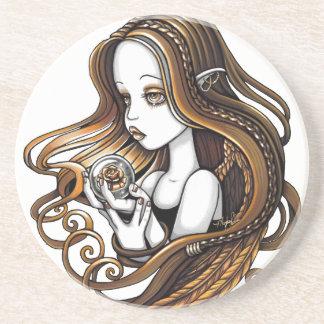 """Seika"" Amber Rose Angel Sandstone Coaster"