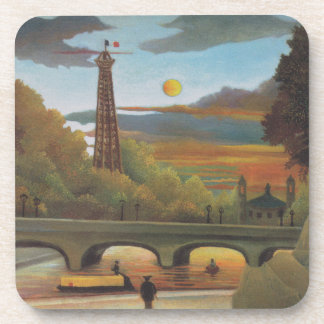 Seine and Eiffel Tower at Sunset by Henri Rousseau Beverage Coaster