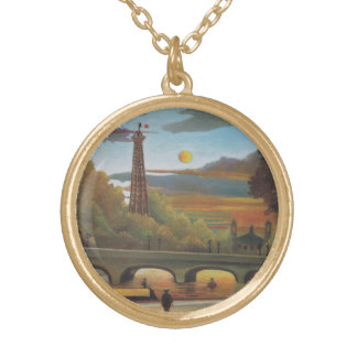Seine and Eiffel Tower at Sunset by Henri Rousseau Gold Plated Necklace