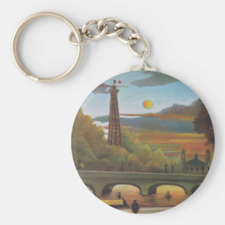 Seine and Eiffel Tower at Sunset by Henri Rousseau Keychain