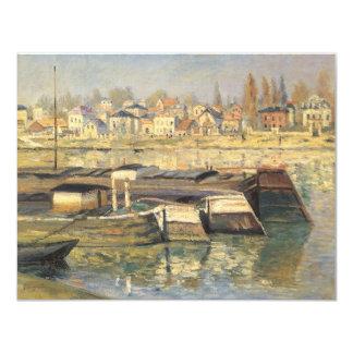 Seine at Asnieres by Monet, Vintage Impressionism 4.25x5.5 Paper Invitation Card