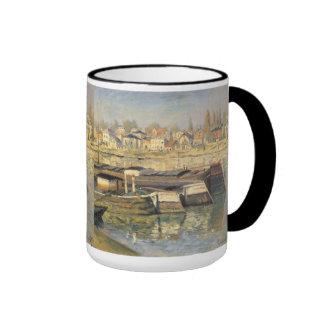 Seine at Asnieres by Monet, Vintage Impressionism Ringer Coffee Mug