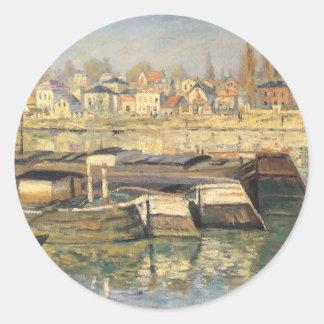 Seine at Asnieres by Monet, Vintage Impressionism Classic Round Sticker