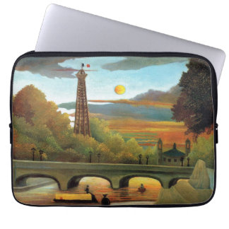 Seine & Eiffel Tower in the Sunset by Rousseau Computer Sleeve