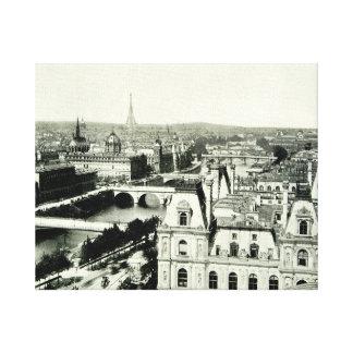 Seine Eiffel Tower Paris Bridges Cityscape Mansard Canvas Print