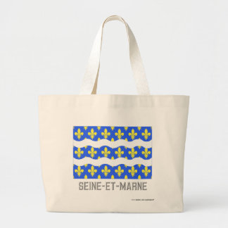 Seine-et-Marne flag with name Tote Bags