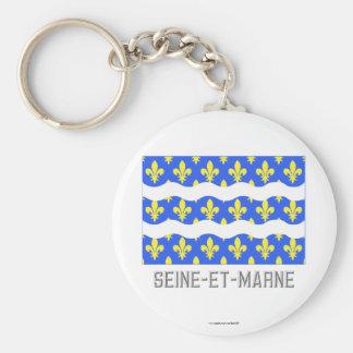Seine-et-Marne flag with name Basic Round Button Keychain