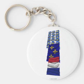 Seine-et-Marne, Île-de-France & France flags Basic Round Button Keychain