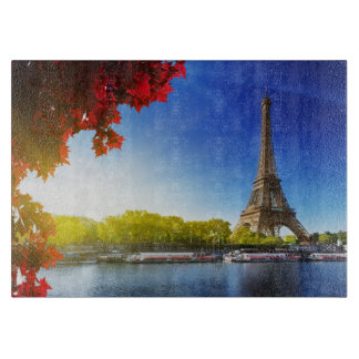 Seine In Paris With Eiffel Tower In Autumn Time Cutting Board