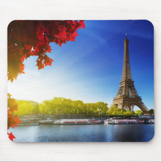 Seine In Paris With Eiffel Tower In Autumn Time Mouse Pad