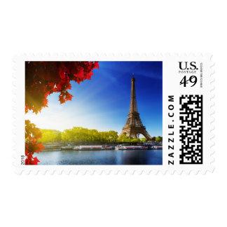 Seine In Paris With Eiffel Tower In Autumn Time Postage Stamp