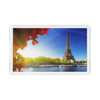 Seine In Paris With Eiffel Tower In Autumn Time Serving Tray