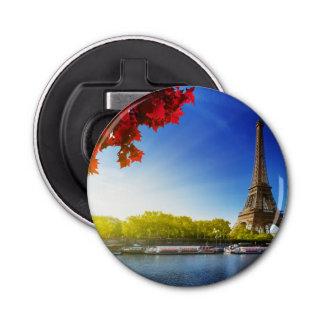 Seine In Paris With Eiffel Tower In Autumn Time Button Bottle Opener
