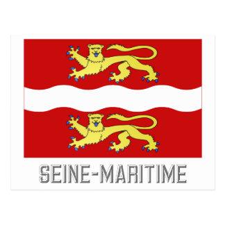 Seine-Maritime flag with name Postcard