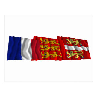 Seine-Maritime, Haute-Normandie & France flags Postcard
