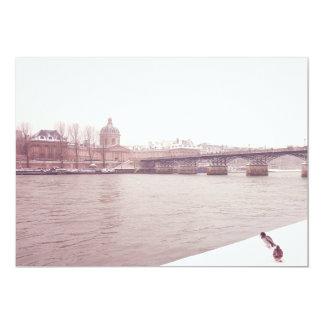 Seine River in a snowy Paris (France) Card