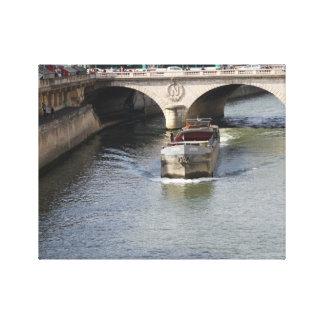 Seine River, Paris France, Boat Canvas Print