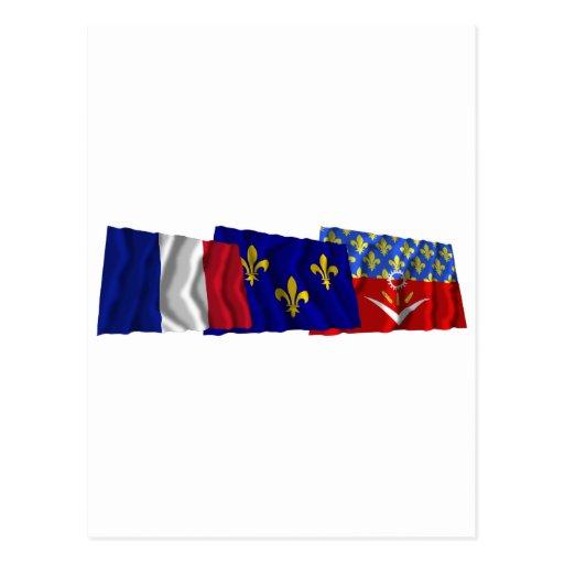 Seine-Saint-Denis, Île-de-France & France flags Post Cards