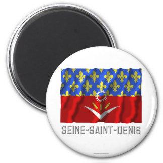 Seine-Saint-Denis que agita la bandera con nombre Imán Para Frigorifico