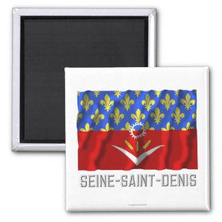 Seine-Saint-Denis que agita la bandera con nombre Iman Para Frigorífico