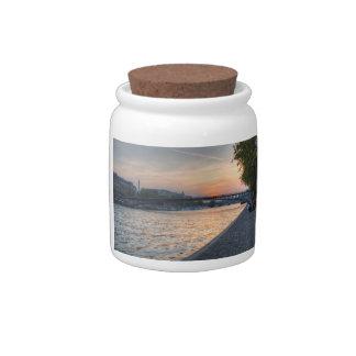 Seine sunset candy jar