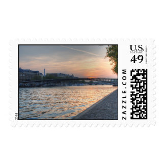 Seine sunset postage stamp