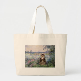 Seine - Tabby Tiger cat 30 Large Tote Bag