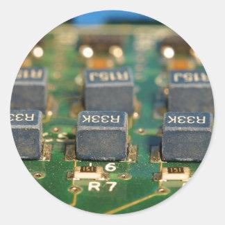 Seis circuitos de microprocesadores de ordenadores etiquetas
