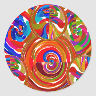 Seis círculos de la sigma - la terapia del color d pegatina redonda