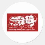 Seis comunistas pegatina redonda
