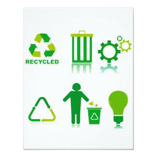 """seis diseños de reciclaje en one.png invitación 4.25"""" x 5.5"""""""