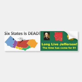 ¡Seis estados son muertos!  ¡Vive de largo Pegatina De Parachoque