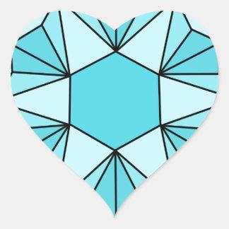 Seis estrellas señaladas Gem3 Pegatina En Forma De Corazón