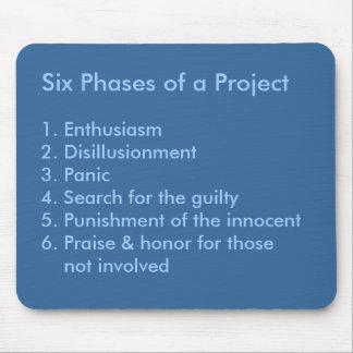 Seis fases de un proyecto tapete de raton