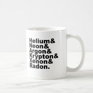 Seis gases nobles en la tabla de elementos periódi tazas de café