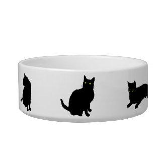 Seis gatos negros su nombre de mascotas comedero para mascota