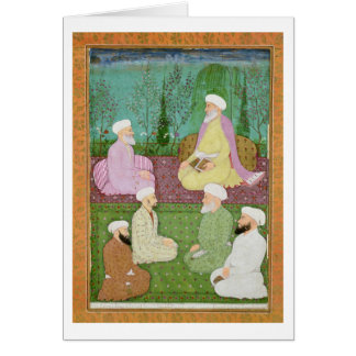 Seis hombres santos musulmanes asentados en una te tarjetón