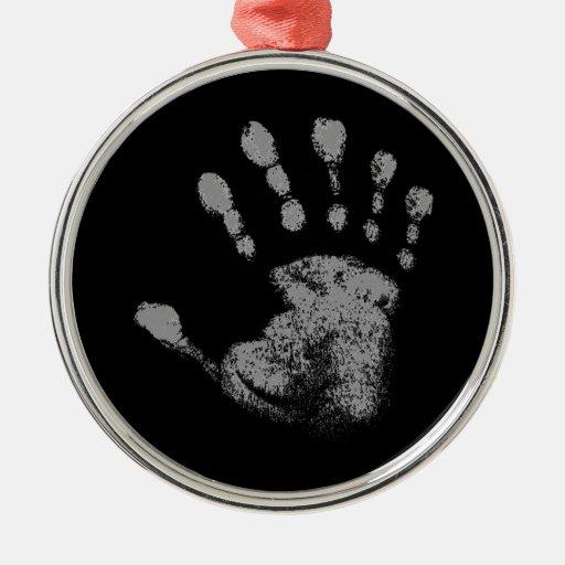 Seis impresiones de la mano del dedo adorno navideño redondo de metal