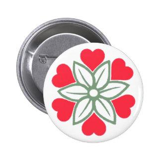 Seis insignias rojas del Pin del botón de la flor