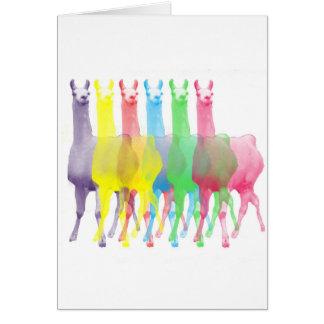 seis lamas en seis colores de la llama tarjeta de felicitación