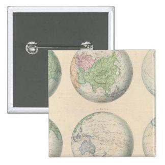 Seis mapas hemisféricos del mundo pin cuadrado
