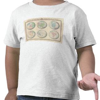 Seis mapas hemisféricos del mundo camisetas