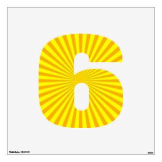 Seis-Medio del número de la etiqueta de la pared Vinilo Adhesivo