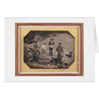 Seis mineros con el eje de balancín, carretillas tarjeta de felicitación
