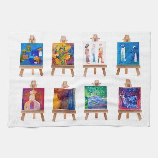 Seis mini pinturas en los caballetes aislados en b toallas de mano
