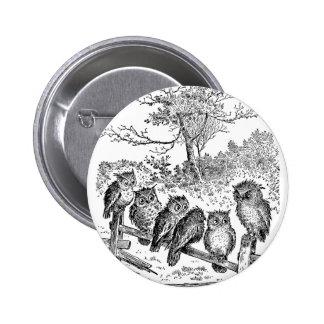 Seis pequeños búhos que se sientan en una cerca an pin redondo 5 cm