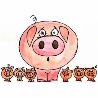 Seis pequeños cerdos fotoescultura vertical