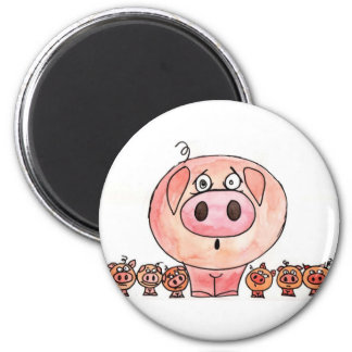 Seis pequeños cerdos imán de frigorífico