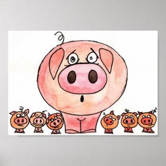 Seis pequeños cerdos póster