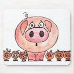 Seis pequeños cerdos tapetes de raton